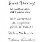 """Stempel / Stamp: Transparent Gennemsigtig / Clear Text Stempel: tysk tekst Jul """"Happy Holidays"""""""