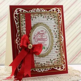 """STEMPEL / STAMP: GUMMI / RUBBER Rubber stamp: Christmas decorative frame """"Holly Frame"""" - ONLY 2 in stock! LIMITED!"""