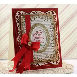 "STEMPEL / STAMP: GUMMI / RUBBER Rubber stamp: Christmas decorative frame ""Holly Frame"" - ONLY 2 in stock! LIMITED!"