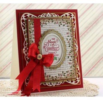 """STEMPEL / STAMP: GUMMI / RUBBER Timbro di gomma: cornice decorativa natalizia """"Holly Frame"""" - SOLO 2 in stock! LIMITATA!"""