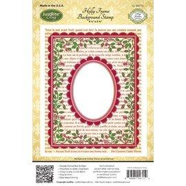"""STEMPEL / STAMP: GUMMI / RUBBER Timbre en caoutchouc: Cadre décoratif de Noël """"Cadre Holly"""" - SEULEMENT 2 en stock! LIMITED!"""