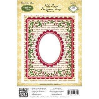 "STEMPEL / STAMP: GUMMI / RUBBER Rubberstempel: Kerstdecoratieframe ""Holly Frame"" - ALLEEN 2 op voorraad! LIMITED!"
