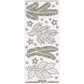STICKER / AUTOCOLLANT Decorative stickers with motifs Fir branches in glitter white and gold