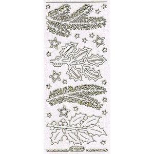 Sticker Ziersticker avec des branches de pin blanc motifs de paillettes et d'or