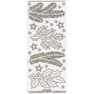STICKER / AUTOCOLLANT Ziersticker met motieven dennentakken wit in glitter en goud