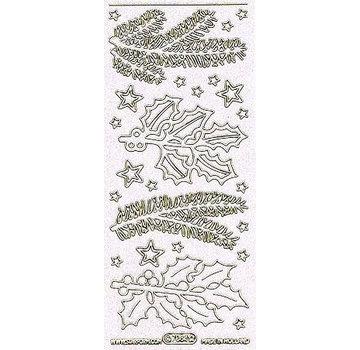 Sticker Ziersticker med motiver fyrretræ grene hvide i glitter og guld