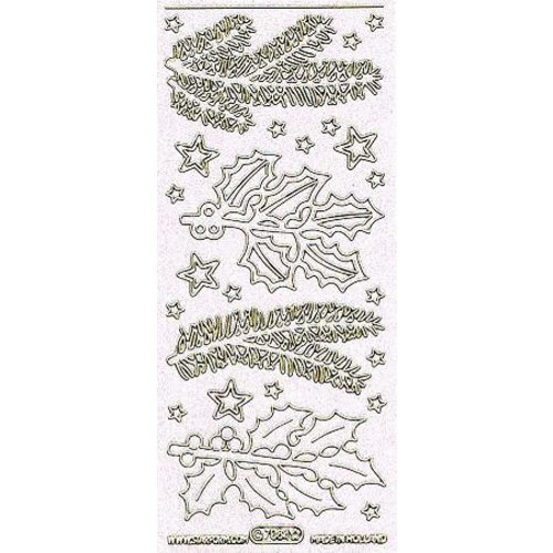 Sticker Decorative stickers with motifs Fir branches in glitter white and gold