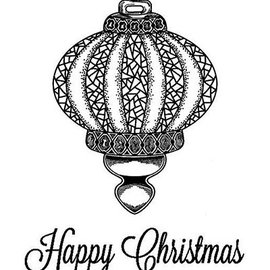 STEMPEL / STAMP: GUMMI / RUBBER Rubber stamp: Christmas ball - ONLY 2 in stock!