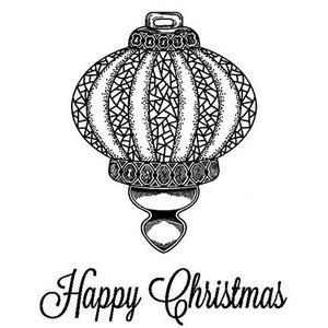 STEMPEL / STAMP: GUMMI / RUBBER Rubber zegel: Christmas ball - slechts 2 beschikbaar!