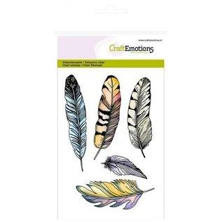 Craftemotions Motivo de sello transparente, A6, plumas