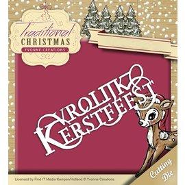 Yvonne Creations Troquelado y estampado de plantilla: Vrolijke Kerstmis en holandés!