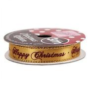 DEKOBAND / RIBBONS / RUBANS ... HAPPY CHRISTMAS GOLD, 3Meter Rolle