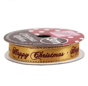 DEKOBAND / RIBBONS / RUBANS ... HAPPY CHRISTMAS GOLD, 3-meter roll