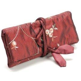 Exlusive SETS rollo de joyería elegante, rojo, 19x 26cm, bordado con pequeñas florecillas.