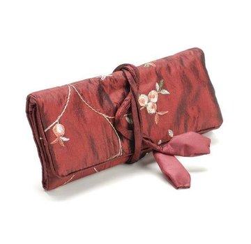 Exlusive SETS Elegante sieraden roll, rood, 19x 26cm, geborduurd met kleine roosjes.