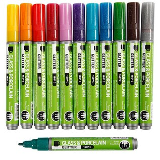 FARBE / STEMPELKISSEN Glas- und Porzellanmalstifte, 2-4 Strichstärke, 12 sortierte Farben
