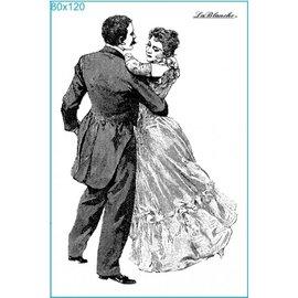 STEMPEL / STAMP: GUMMI / RUBBER Sello baile en la bola, a unos 8 x 12 cm