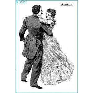 STEMPEL / STAMP: GUMMI / RUBBER Stempel Dancing i bolden, omkring 8 x 12 cm