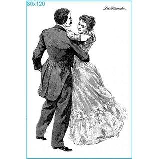 STEMPEL / STAMP: GUMMI / RUBBER Stempel dansen op het bal, ongeveer 8 x 12 cm