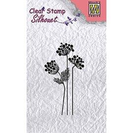 Nellie Snellen Stamp Diseño: SILHOUET las flores, tamaño: 85 x 36 mm