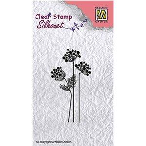 Nellie Snellen Design Stamp: Silhouet Fleurs, Taille: 85 x 36 mm