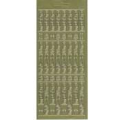 Sticker Stickervel, 10x23cm Duitse tekst: Merry Christmas, verticaal in goud