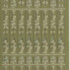 Sticker Sticker ark, 10x23cm tyske tekst: Glædelig jul, lodret til guld