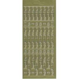 STICKER / AUTOCOLLANT Klistremerke ark, 10x23cm tysk tekst: Merry Christmas, vertikalt til gull