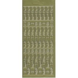 Sticker Sticker sheet, 10x23cm German text: Merry Christmas, vertical in gold