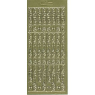 STICKER / AUTOCOLLANT feuille d'autocollants, 10x23cm texte allemand: Joyeux Noël, à la verticale en or