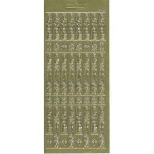STICKER / AUTOCOLLANT Stickervel, 10x23cm Duitse tekst: Merry Christmas, verticaal in goud