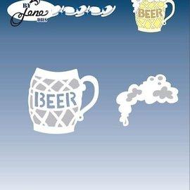 JEANINES ART (NEU) Punzonado y estampado en relieve de la plantilla, un vaso de cerveza con espuma