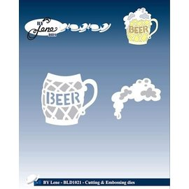 JEANINES ART  Ponsen en embossing stencil, een glas bier met schuim