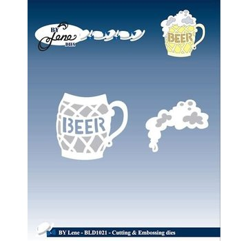 JEANINES ART (NEU) Punzonatura e goffratura stencil, un bicchiere di birra con schiuma