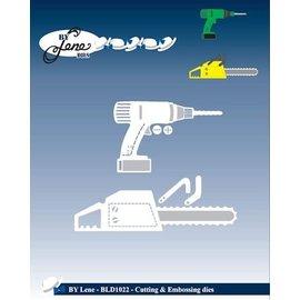 JEANINES ART (NEU) Estampación y embutición herramientas de la plantilla: motosierra y taladro