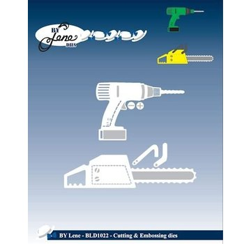 JEANINES ART (NEU) Stampaggio e goffratura strumenti Template: motosega e trapano
