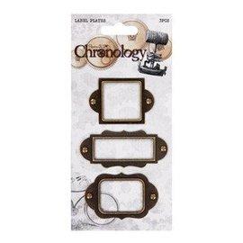 Embellishments / Verzierungen 3 metalen Label platen, Chronologie voor op kaarten en scrapbooking