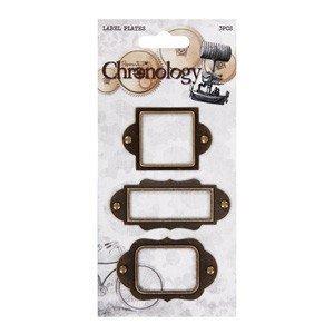 Embellishments / Verzierungen 3 Metalle Label Plates, Chronology für auf Karten und Scrapbooking