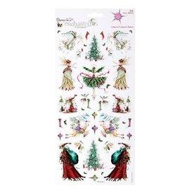 STICKER / AUTOCOLLANT 2 ark 30 med julen design med glitter klistermærker