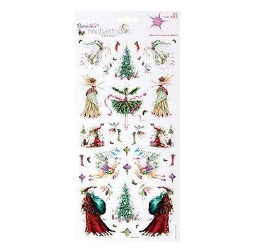 Sticker 2 sheets with 30 Christmas embroidery motifs with glitter