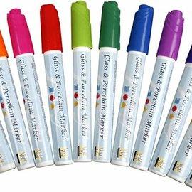 FARBE / STEMPELKISSEN Glas- und Porzellanmalstifte, 3 mm Strichstärke, 12 sortierte Farben