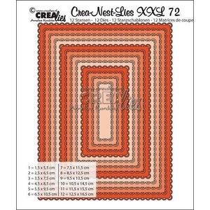 Crealies und CraftEmotions Skæring dør, 12 rektangler med åben kammusling max. 12,5x16,5 cm
