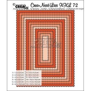 Crealies und CraftEmotions Stansmessen, 12 rechthoeken met open coquille max. 12,5x16,5 cm