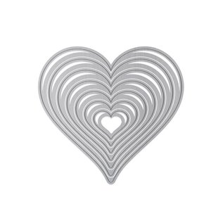 Tonic Studio´s cutting and embossing dies, 7 hearts in 7 different sizes