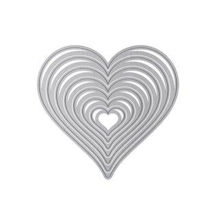 Tonic Studio´s Snij- en Embossing Sjablonen, zeven harten in verschillende maten 7