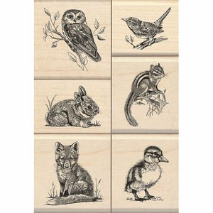Stempel / Stamp: Holz / Wood Wood stamp set: Wildlife friends