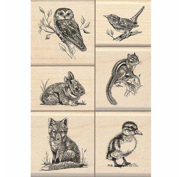 Stempel / Stamp: Holz / Wood Stempel træ: Wildlife Friends