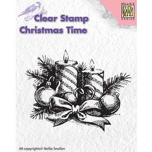 Nellie Snellen Transparent Stempel, Nellie Snellen, Weihnachtskranz mit Kerzen