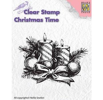 Nellie Snellen timbri trasparenti, Nellie Snellen, Corona di Natale con le candele