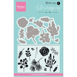 Marianne Design SET: 10 punching templates + 11 stamps, plants